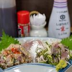 はまべ - 2020.6 地魚アジ三昧定食(1,500円)なめろう、刺身、タタキ