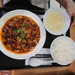 大阪餃子軒 - 麻婆豆腐定食620円 100円引き 520円+税