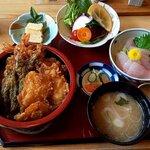 割烹 福寿司 - 天重+ちょこっと刺身(2020.5)