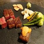 Teppan Dining L'ajitto - 宮崎牛イチボと焼き野菜(+サーロイン&炙りウニ)