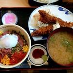 花いち - わがまま丼とジャンボ海老フライ(税込1980円)