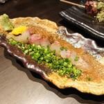 博多串焼と刺身 ココロザシ - 博多名物胡麻かんぱちならぬアイナメ(ハーフ)(638円)