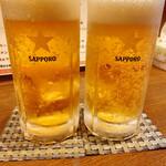 真心ラーメン竹 - 生ビール サッポロ黒ラベル 500円