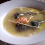 グランパ   - 「野菜のラビオリ仕立て」。色々なお野菜が包まれていてそれぞれの味が風味豊かで美味しかった。