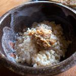 グランパ   - ご飯は玄米にお味噌が添えられたもの。うーん。美味しい。