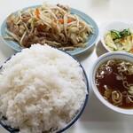 万福 - 肉野菜定食850円+ライス大盛100円!