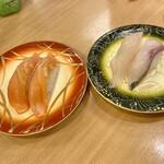 鮨八  - サーモンとハマチ