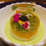 Yokohamamotomachimutekirou - オマール海老のタルタルとアスパラガスのブランマンジェ そのプルーテと海藻のジュレと共に