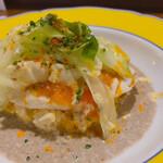 Yokohamamotomachimutekirou - 高知県産メダイの網焼き 粒マスタードと乾燥トマト風味 マッシュルームのプルーテとそのソテー卵のピラフのチーズ焼き