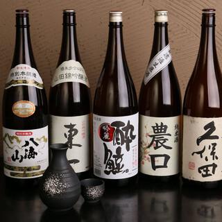 お料理に合う10種類以上の日本酒をご用意!