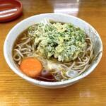 二葉 - そば(290円)+しゅん菊天(100円)+生玉子(60円)