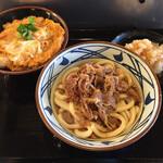 丸亀製麺 - 鬼オロシ肉ぶっかけ並690円+鶏親子丼390円-100円 計980円