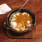 海老丸らーめん - リゾット用のご飯にスープをかけたところ