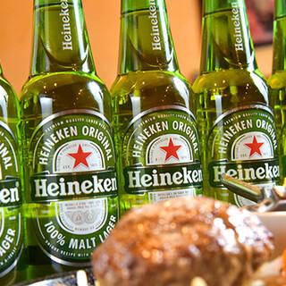 ハンバーグとの相性◎定番のアルコール類を取り揃えています