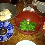 13214656 - 高野豆腐の揚げ出し、菜の花おひたし、切り干しゴマ酢和え