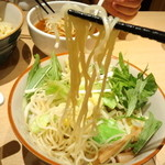 支那そば 一本気 - 冷し野菜つけ麺の麺は細麺(^π^)