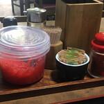中西食堂 - テーブルの上