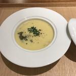 馳走2924 - とうもろこしとじゅん菜の冷製スープ