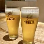 菜な - YEBISU生ビールで乾杯