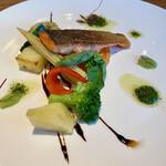 トレ グラッポリ - ディナーコースの魚はサーモン