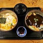 132286311 - ドミグラスソースカツ丼と玉子とじカツ丼のセット