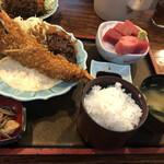 ダイニングステージ 佐海屋 - 大えびフライと本日のお造り定食  1100円