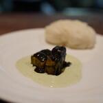 開化亭 - 国産黒鮑と肝と青梗菜のバターソース 蒸しパン