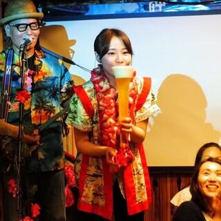 サプライズが人気☆島唄とオリジナルドリンクでお祝いいたします