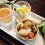 132316781 - 蕎麦点心@蕎麦遊膳 響…先付け 蕎麦点心 季節の天ぷら せいろ デザート 1,600円