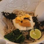 蕎麦屋 エソラ - 料理写真:萩の生うに生湯葉(冷蕎麦)