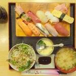 宝寿司 - にぎり寿司10貫ランチ(上から)