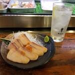 132335556 - サケ刺(ルイベ)とレモンサワー