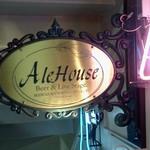 Ale House - 地下に降りていく階段にこんな看板が