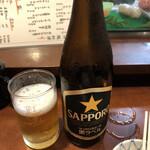 魚しん - お得セットは+100円で瓶ビールにできます。