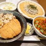大衆天ぷらtoかすそば風土.はなれ - かすそばかつ牛丼定食
