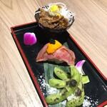 132401977 - 牛肉のしぐれ煮、肉寿司、焼き枝豆