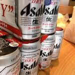 らぁめん二代目オカワリ - 缶ビール(おつまみ付き) ¥500-