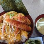 ドライブインあけみ - エビフライ丼(味噌汁付)880円