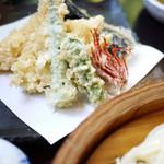 蕎麦処 みかわ - 天ざる(上)うどん 1650円