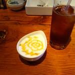 山梨レストラン メリメロ - メリメロプリンとピーチティー