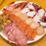魚真 - 2020.6 魚真おすすめ! 刺身盛り合わせ マグロをメインに他三点(1,500円)