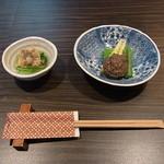 13251059 - 蛤と水菜のお浸しと姫竹のえごまソースがけ