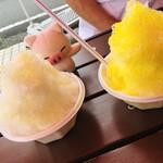 氷屋ツルミセイヒョウ - 左がパッションフルーツ、右がレモン。これらは小さな方のカップです。