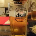 火鍋 久香 - 乾杯は生ビールで....少し飲んでしまいました。