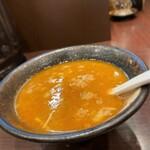 らー麺山之助 - らー麺山之助 本店@山形 からし味噌つけめん 割りスープ