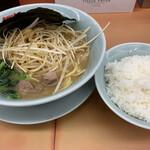 山岡家 - 醤油ネギとライス