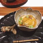 蕎麦割烹  倉田 - 水茄子に湯葉と紫海胆載せ