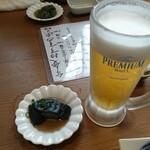 弁慶 - 突き出しと生ビール