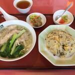 清龍苑 - 蒸し鶏麺と高菜チャーハン