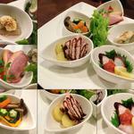 13262572 - [BAR-Time] 前菜盛り合せ(5種)。たこ梅肉添え、ローストビーフ、炊き合わせ、合鴨、紅ずいき。炊き合わせは「ねじり梅」まで…。芸が細かいです♪(^^;